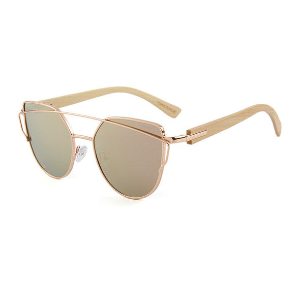 Bella Rose Gold Sunglasses with Bamboo Arms