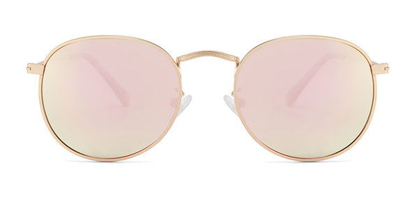 Lennon Collection Gold Frame Sunglasses with Pink Mirror polarized lens