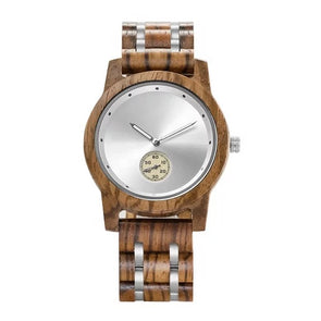 The Ash Collection (Walnut and Stainless Steel) White Dial Wood Watch