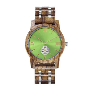 The Ash Collection (Walnut and Stainless Steel) Green Dial Wood Watch