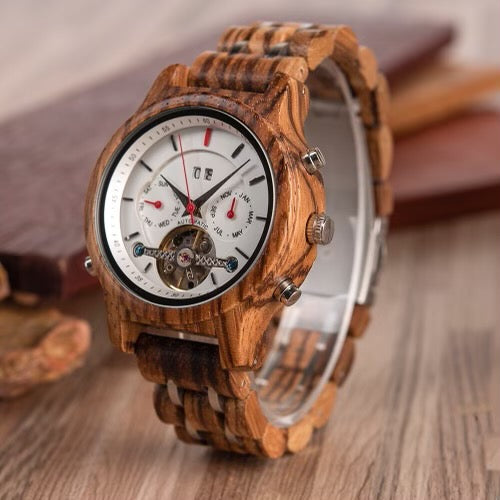 The Frankie Collection (Automatic Mechanical Zebra Wood Small Dial) Watch