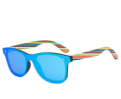 Rainbow Collection Wood Sunglasses with Blue Polarized Lens