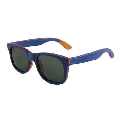 Gladiator BIG HEAD Blue Recycled Skateboard Wood Sunglasses