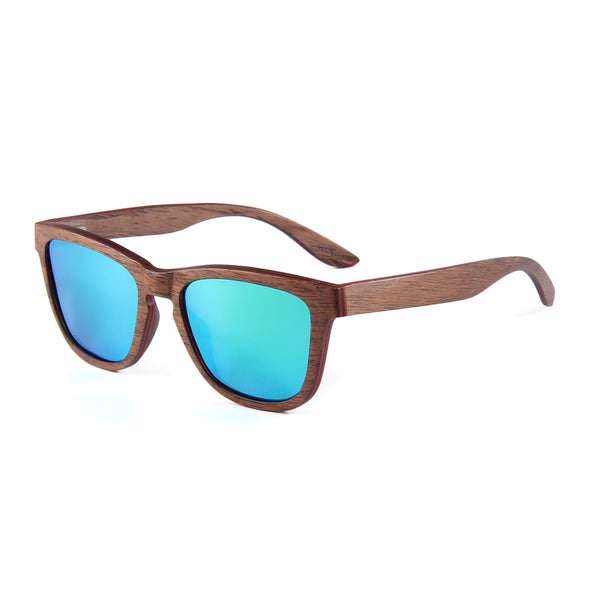 Bryn Collection Black Walnut Wood Sunglasses with Real Mirror Green Lens