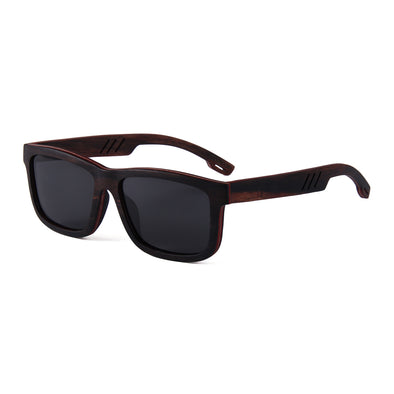 Maco Collection Ebony Skateboard Wood Sunglasses with Smoke Lens