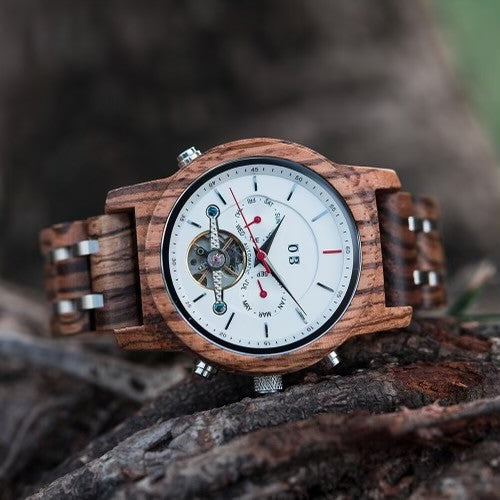 The Frankie Collection (Automatic Mechanical Zebra Wood Large Dial) Watch