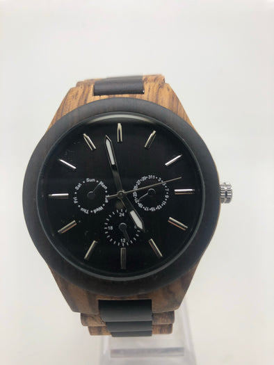 Daniel Collection (Zebra Wood/Ebony) Wood Watch