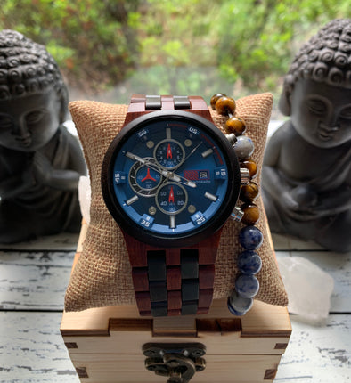 The Sequoia Collection (Chronograph Red Sandalwood and Ebony Wood) Watch
