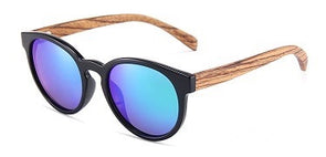 Elle Collection Zebra wood sunglasses with Green Mirror Lens