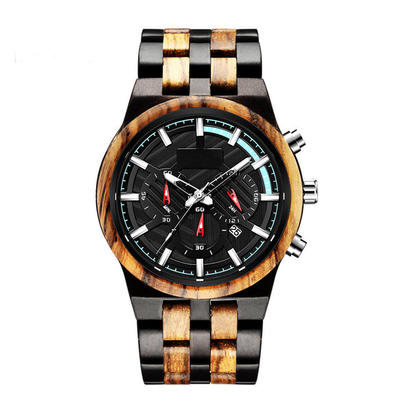 The Parker Collection (Chronograph Ebony Wood and Zebrawood) Watch