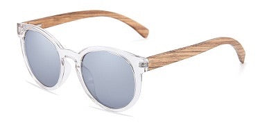Elle Collection Zebra Wood Sunglasses Silver mirror Polarized Lens