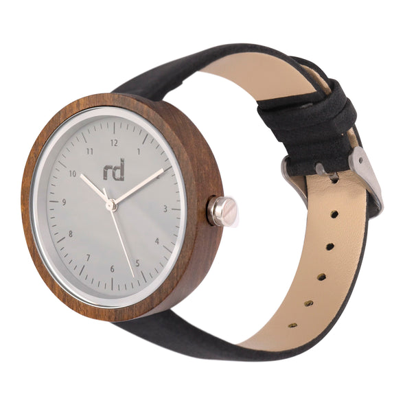 The Olive Collection (Black Vegan Leather Wood Watch)