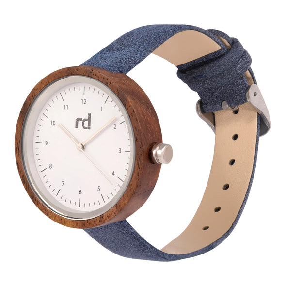 The Olive Collection (Blue Vegan Leather Wood Watch)