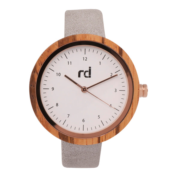 The Olive Collection (Gray Vegan Leather Wood Watch)