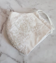 Bridal Silk Dupion and Lace Face Mask