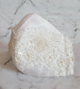 Bridal Silk and Lace Face Mask
