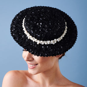 Calla Boater - Black Braid and Pearl Trim - Victoria Jane Millinery