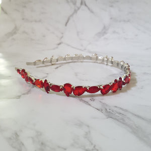 Jade - Red Jewel Headband - Victoria Jane Millinery