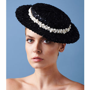 Calla Boater - Black Braid and Pearl Trim