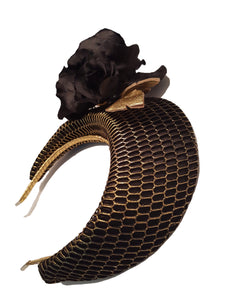 Blossom Halo - Black and Gold - Victoria Jane Millinery