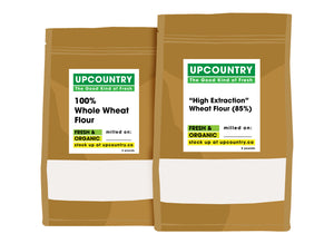 The Baker's Duo: Organic High Extraction (2 lbs) & Organic Whole Wheat Flour (2 lbs)