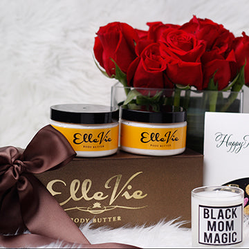 Hand made whipped shea butters and a hand poured statement soy blend candles. With statements like glam mother, #blessed, Black Mom Magic, Muva and Dear Mama, it's the ideal way to celebrate the awesome moms in your life.