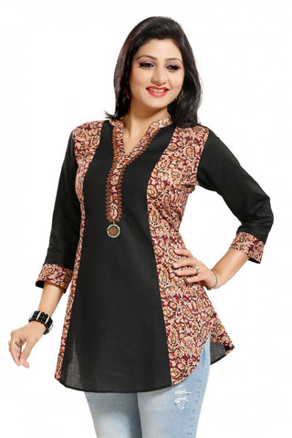 Black Allure ALine Asymmetrical Short Tunic With Kalamkari Print For Everyday Wear SC1032