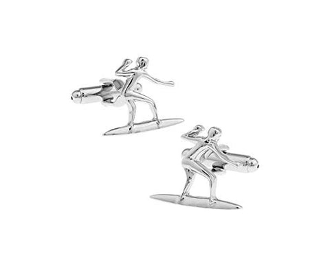 Sports Fashion Trendy Men's French Shirts Water Ski Water Sports Cuff Links Cuff Link Cuff lings Cuff Buttons Cufflinks For Men's and Women's / AZCFSP013-SIL