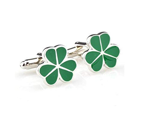 Fashion Trendy Men's French Shirts Green Three Leaf Clover Cufflink Cuff Link Cuff lings Cuff Buttons Cufflinks For Men's and Women's / AZCFMI002 (Silver, Green)