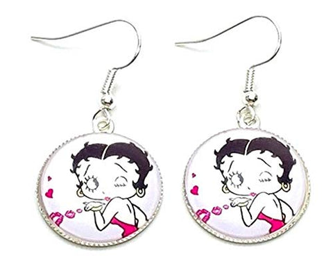 Trendy Fashion Classic Character Betty Boop Earrings For Women / (AZEABF007-SIL)