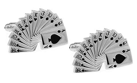 Fashion Trendy Men's Cuff links Cuff lings 4A poker Playing Cards Cuff links Cuff lings Cuff Buttons Cuff Link For Men's and Women's / AZCFGA001