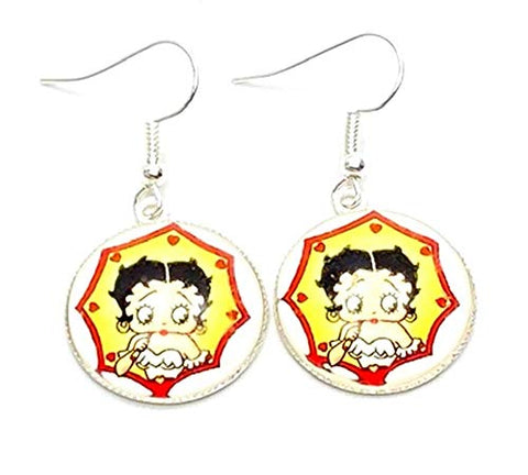 Trendy Fashion Classic Character Betty Boop Earrings For Women / (AZEABF008-SIL)