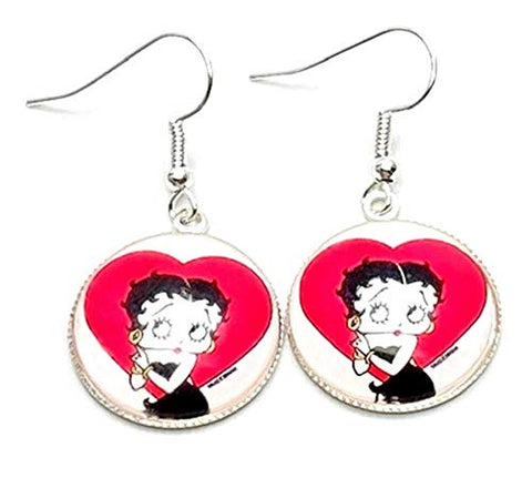 Trendy Fashion Classic Character Betty Boop Earrings For Women / (AZEABF005-SIL)