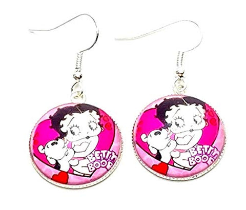 Trendy Fashion Classic Character Betty Boop Earrings For Women / (AZEABF004-SIL)