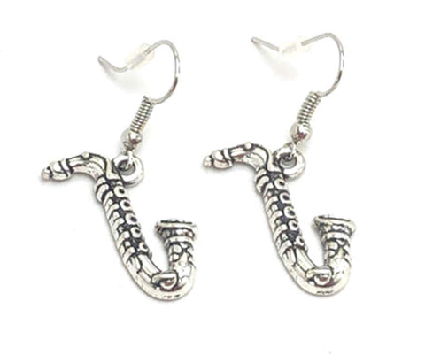 Fashion Trendy Handmade Musical Instrument Saxophone Charm Dangle Earrings For Women / AZAEMI131-ASL