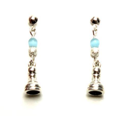 Trendy Fashion SPORTS Chess Pawn Piece Dangle Post Earrings For Women / AZEACH001-ASL