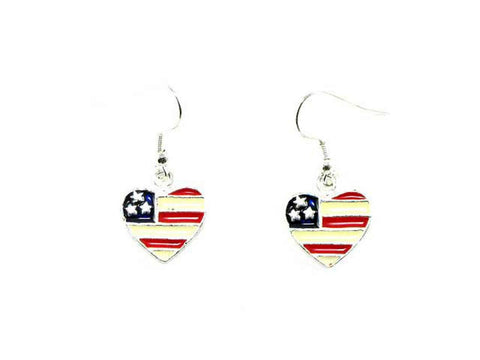Independence Day American Flag Heart Dangle Fish Hook Earring For Women