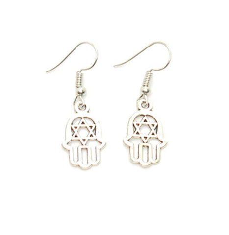 Antique Silver Hamsa Dangle with Star of David Earrings For Women / AZAEHH002-ASL