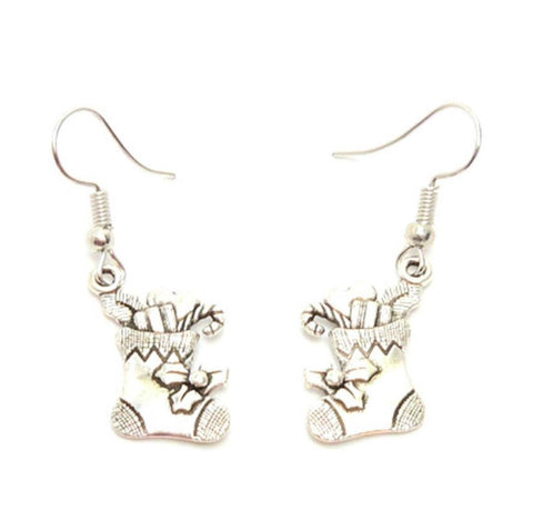 Christmas : Antique Silver Santa' Socks Dangle Fish Hook Dangle Earrings For Women / AZAEXA024-ASL