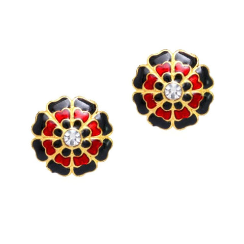 Imitation Flower Shape Fashion Stud Earrings / AZERTE001-GBR
