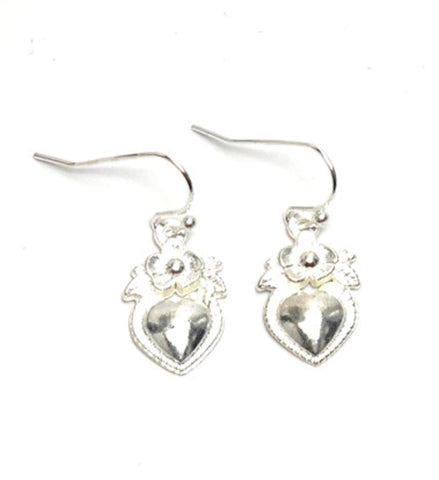 Fashion Trendy Valentine Heart Love Dangle Earrings For Women / AZAEVH107-SIL