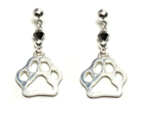 Fashion Trendy Paw Print Dangle Earrings For Women / AZAEPW005-SIL