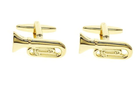 Fashion Trendy Men's French Shirts Music Trumpet Cuff links Cuff lings Cuff Buttons For Men's and Women's / AZCFMU016-GLD