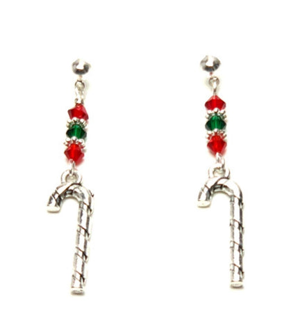 Christmas : Antique Silver Candy Cane Dangle Post Earrings For Women