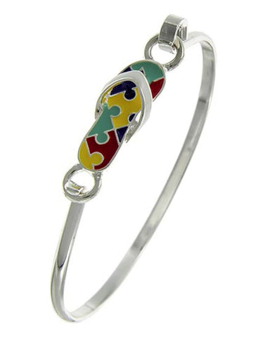 Silver Tone Multi Color Epoxy Flip Flop Hook Cuff Closure Bracelet / AZBRFL075-SMU