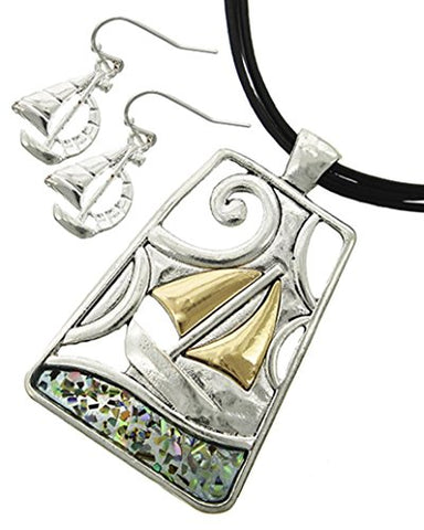 Arras Creations Sea Life Multi Strand Filigree Sail Boat/Shell Star Fish Pendant Earring Set for Women / AZNSSEA276