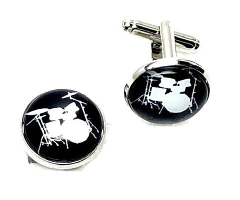 Musical Instrument Drum Set French Shirts Music Drum Set Cufflinks Cuff lings Cuff Buttons Cuff Link For Men's and Women's / AZCFMU103-SBK