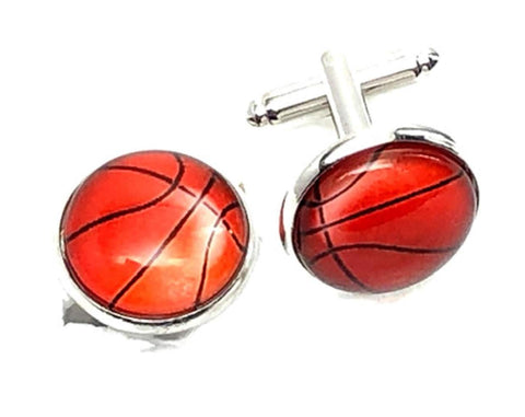 Fashion Trendy Men's French Shirts Basketball Cuff links Cuff lings Cuff Buttons Cufflinks For Men's and Women's / AZCFSP102-SOR