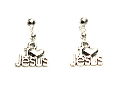 "Antique ""I Love Jesus"" Dangle Post Earrings For Women / AZAELJ007-ASL"