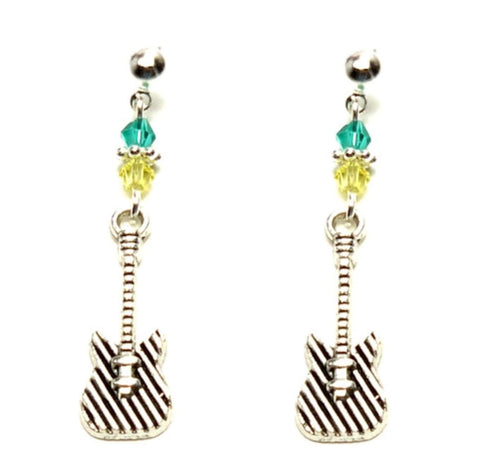 Fashion Trendy Handmade Music Instrument Dangle Guitar Earrings For Women / AZAEDM033-ASG